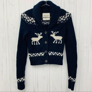 ABERCROMBIE & FITCH HOLIDAY DEER BLUE SWEATER S